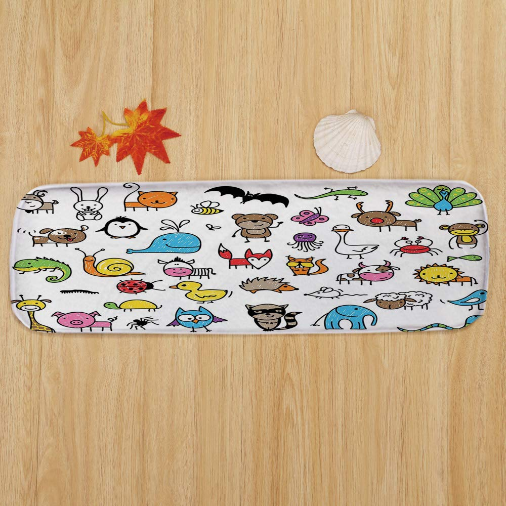 Non-Slip Carpets Stair Treads,Doodle,Collection of Cartoon Style Animals Drawn in Child Friendly Manner Cute Adorable Fun,Multicolor,(Set of 5) 8.6''x27.5'' by iPrint (Image #2)