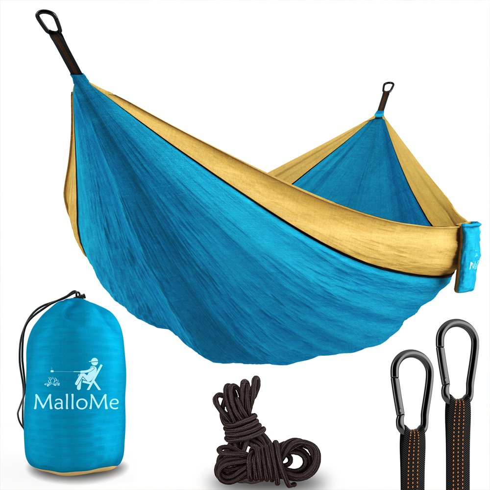 """XL Double Parachute Camping Hammock - Tree Portable with Max 1000 lbs Breaking Capacity - Lightweight Carabiners and Ropes Included For Backpacking, Camping, Hiking, Travel, Beach, Yard, 125"""" x 79"""""""
