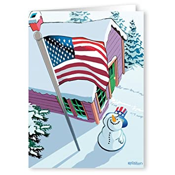 patriotic snowman and flag christmas card 18 cards 19 envelopes - Patriotic Christmas Cards
