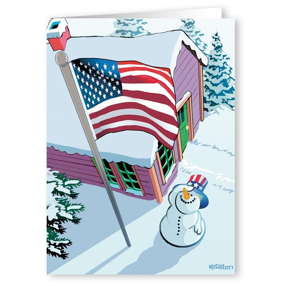 patriotic snowman and flag christmas card 18 cards 19 envelopes