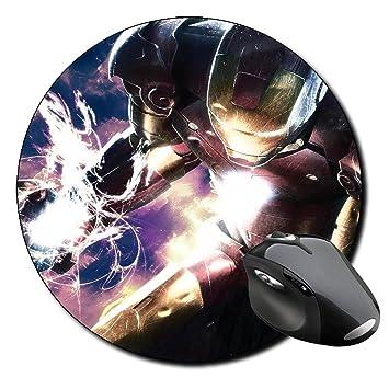 Iron Man 3 Tony Stark Robert Downey Jr F Alfombrilla Redonda Round Mousepad PC: Amazon.es: Oficina y papelería