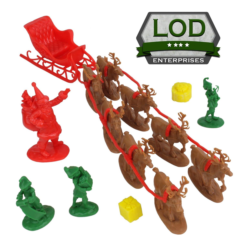 LOD Santa Claus /& Elves 6pc Decoration Plastic Figure Playset