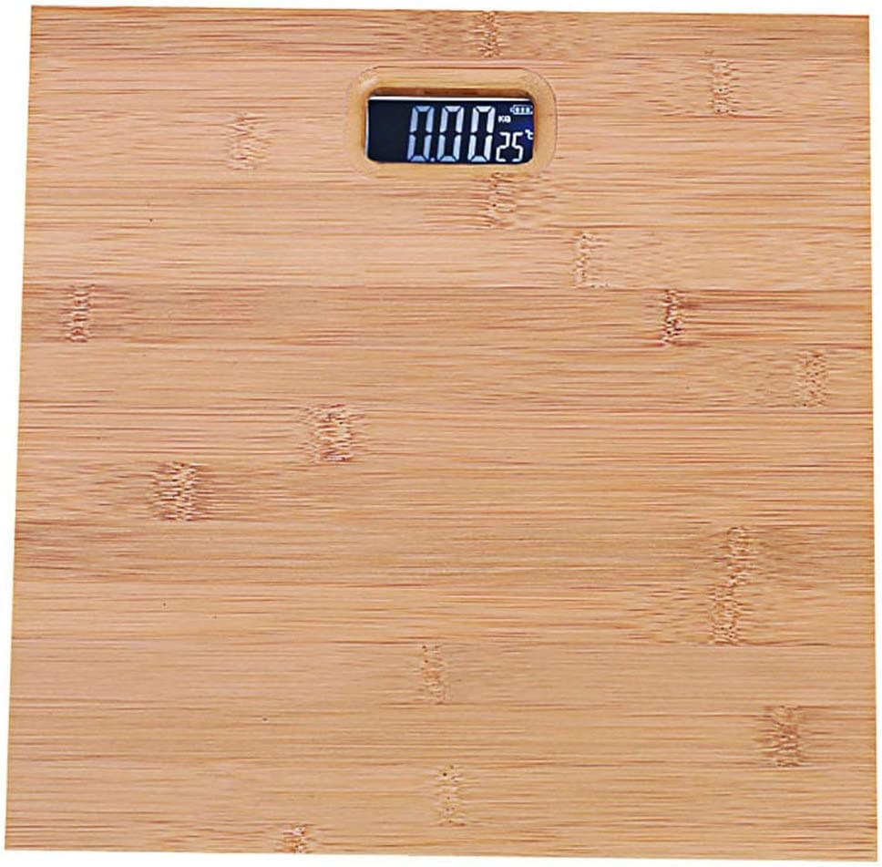 Barry-Home Bamboo 180KG Bathroom Scales 33cm*33cm Smart Digital Floor Balance Weighing-Machine Body Household Weight Scale