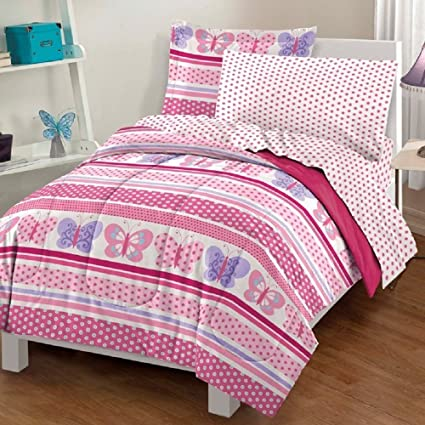 Girls Butterfly Bedding Full Size 7 Piece Comforter, Sheets, Shams,  Pillowcases Set,