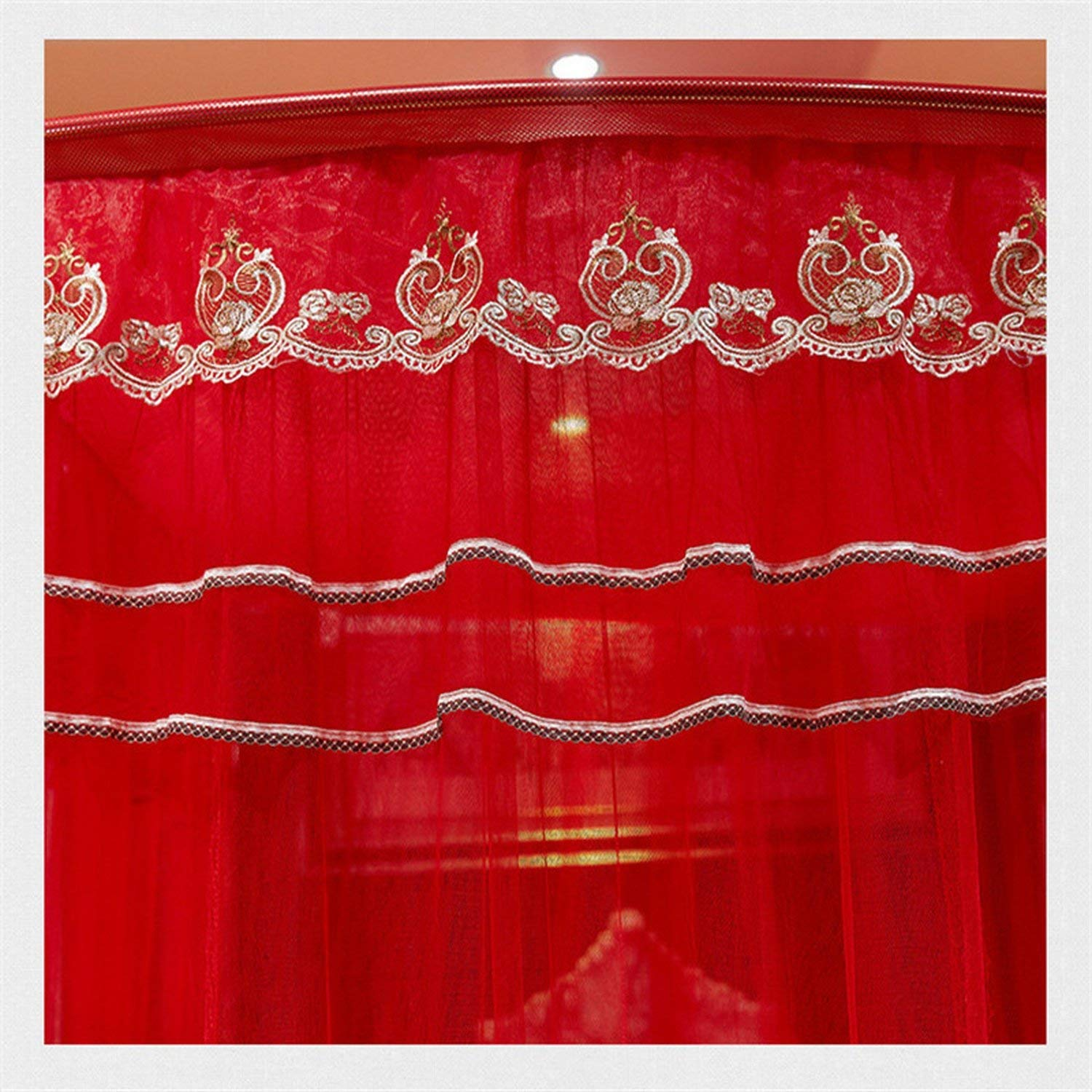 Fishing Rod Retractable Three Door Palace Mosquito Net Floor Standing Anti Mosquito Wedding Nets,Wedding Red Color,1.8Mwx2Mlx2.1Mh by special shine-shop mosquito net (Image #3)
