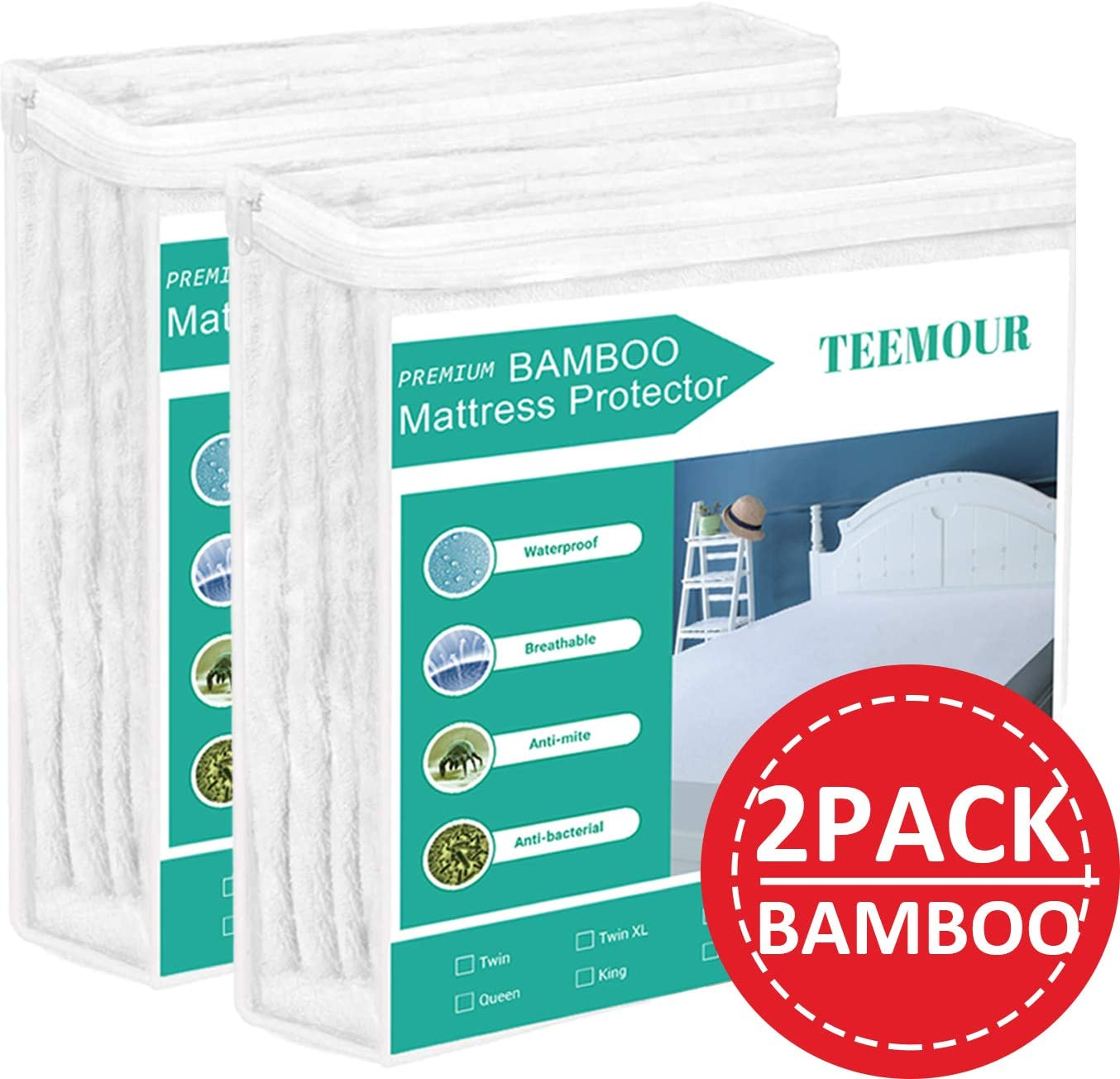 Premium Bamboo Mattress Protector Cooling Mattress Protector Waterproof Mattress Protector Pad Mattress Cover Cotton Terry Surface Noiseless (2, Queen)
