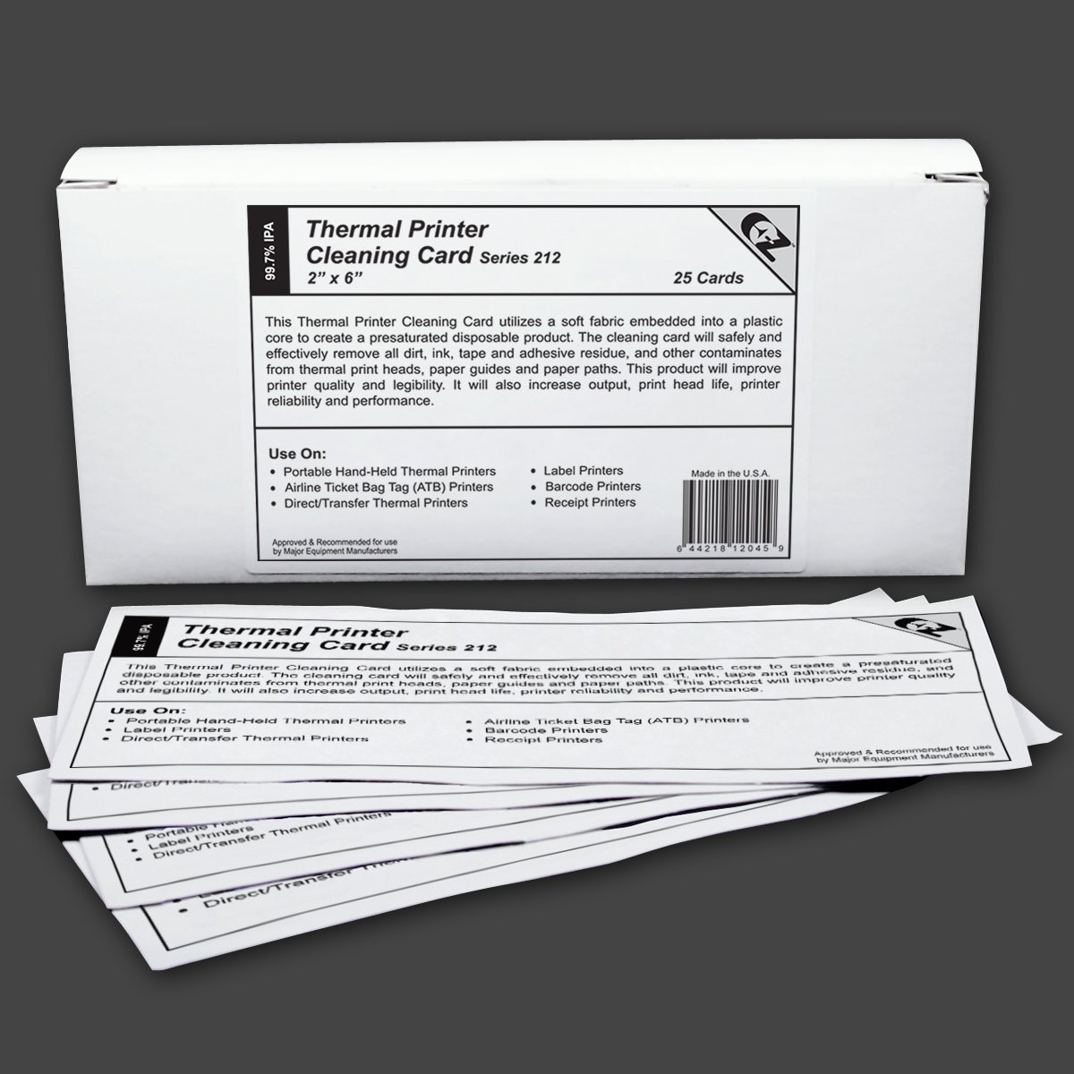 "Thermal Printer Cleaning Card 2""x6"" - 50.8mm x 152.4mm (25 cards)"