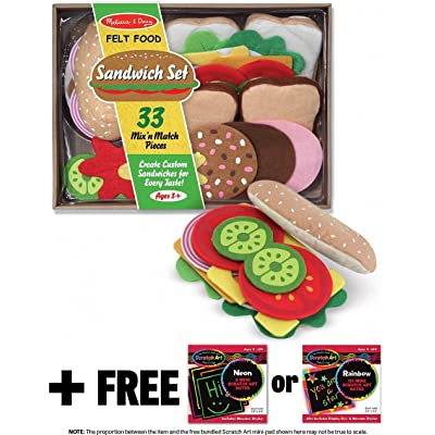 Melissa & Doug Sandwich Felt Food - Play Food Set + Free Scratch Art Mini-Pad Bundle [39543]: Toys & Games