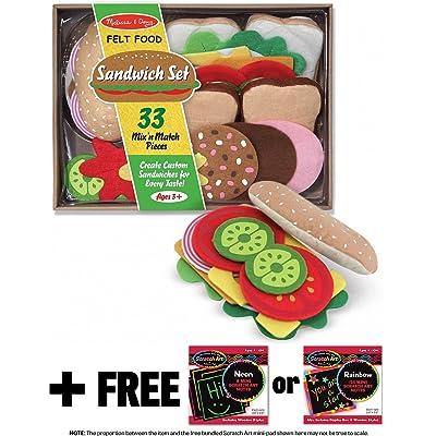 Melissa & Doug Sandwich Felt Food - Play Food Set + Free Scratch Art Mini-Pad Bundle [39543]: Toys & Games