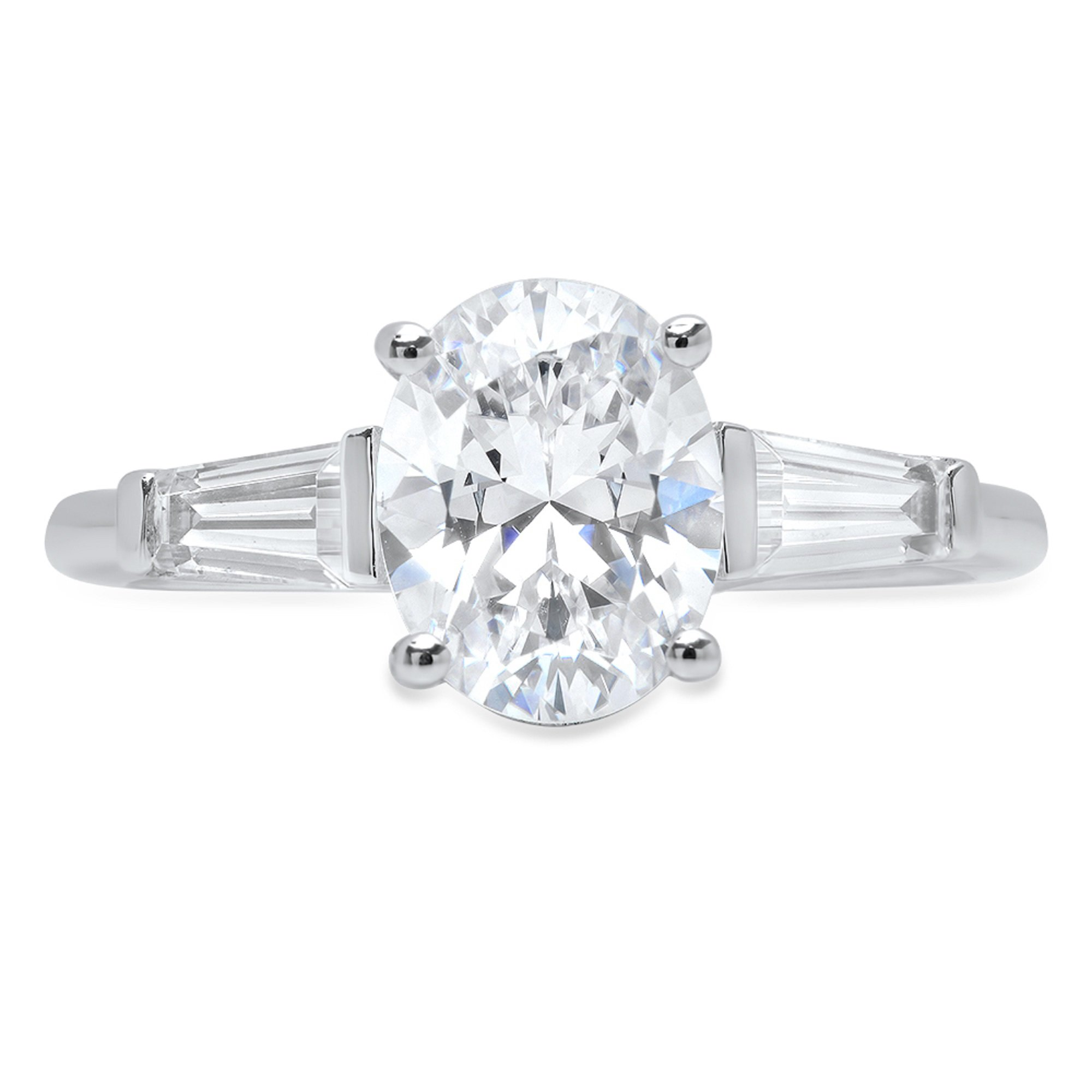 2.1ct Brilliant Oval Baguette Cut Solitaire 3-Stone Statement Ring 14k Solid White Gold, 6.25