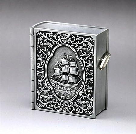 cuzit Metal Barco libro caja de música caja Musical de Vintage Emboss para decoración del hogar, oficina Decor, regalo de cumpleaños, aniversario de boda regalo: Amazon.es: Hogar