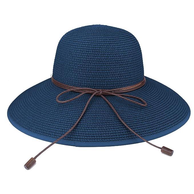 Sombrero de disquete Summer Beach Sombreros de paja de Sun Sombrero de  protección anti-UV c5d4035397b