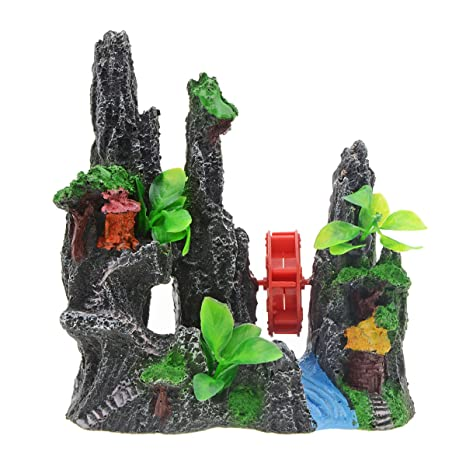 Saim Adornos para Acuario de Resina Decorativos con Diseño de Caminos de Montaña, Color Rojo