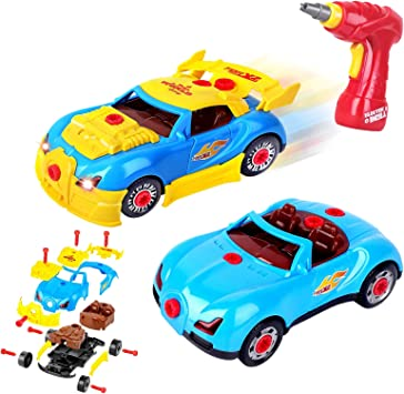 Toddler Car Construction Toy Kit for Boys and AOKESI Take-Apart Toy Racing Car