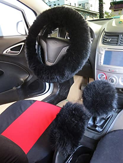 """youarefacny faux fur steering wheel cover warm faux wool handbrakefaux fur steering wheel cover warm faux wool handbrake fuzzy fluffy sheepskin gear shift cover 1 set 3 pcs 14 96\""""x14 96\"""" for womens girls ladies"""