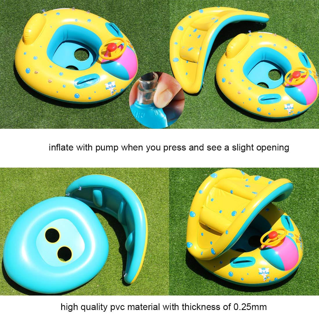 Amazon.com: WTOR Flotador de piscina para bebés con toldo ...