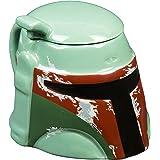 Star Wars Mug - Boba Fett Helmet 3D Ceramic Coffee and Drink Mug with Removable Lid - 20 oz