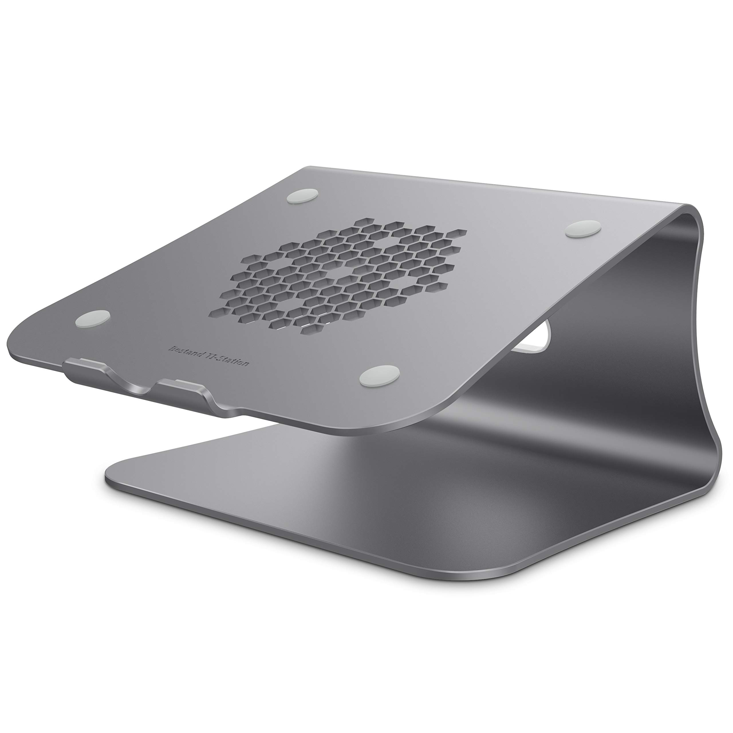 Bestand Ergonomic Aluminum Ventilated Desktop Stand for MacBook [Honeycomb Version] Mount, Holder for Apple MacBook Air, MacBook Pro, All Notebooks, Grey(Patented)
