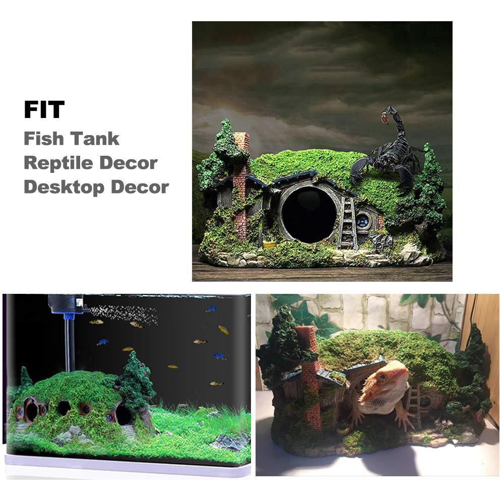 Amakunft Miniatura Paisaje Colina decoración para acuarios, Caja de Reptiles Refugio Ornamento, Hada Agujero casa Manor Tanque de Peces decoración ...