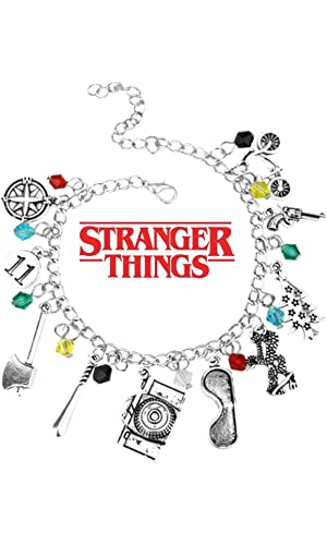 Stranger Things Movie TV Series Themed Collection 10 Logo Charms Lobster Clasp Jewelry Bracelet w/Gift Box by Superheroes