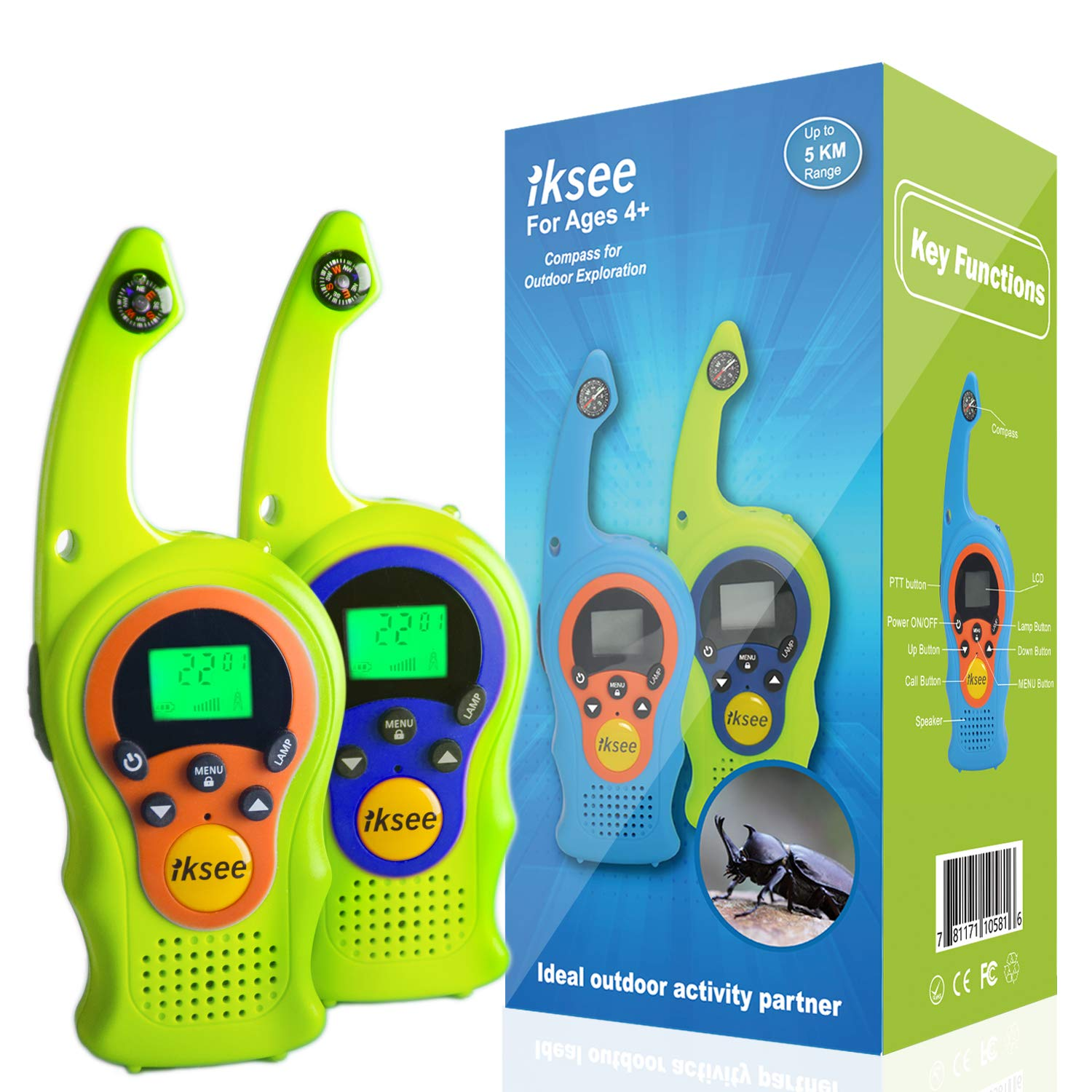 iKsee 2019 Must-Have Dung Beetle Walkie Talkie Set for Adults and Kids with Compass Flashlight, 3+ Mile Long Range Two Way Radios Toys Gifts for 5-12 Boys Girls Awards and Family Games (Green,1 Pair)
