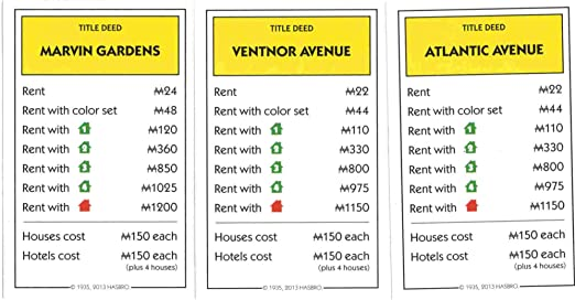 Monopoly Atlantic Avenue Property Deed Title Replacement Card