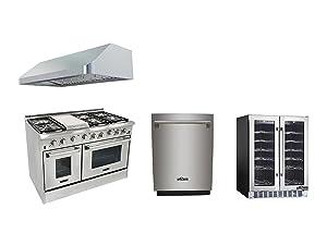 Thor Kitchen 48'' 6 Burner Dual Fuel Range with Double Oven+48'' Gange Hood+24'' Built-in Dishwasher+36 Bottle Wine cooler with Free Gift