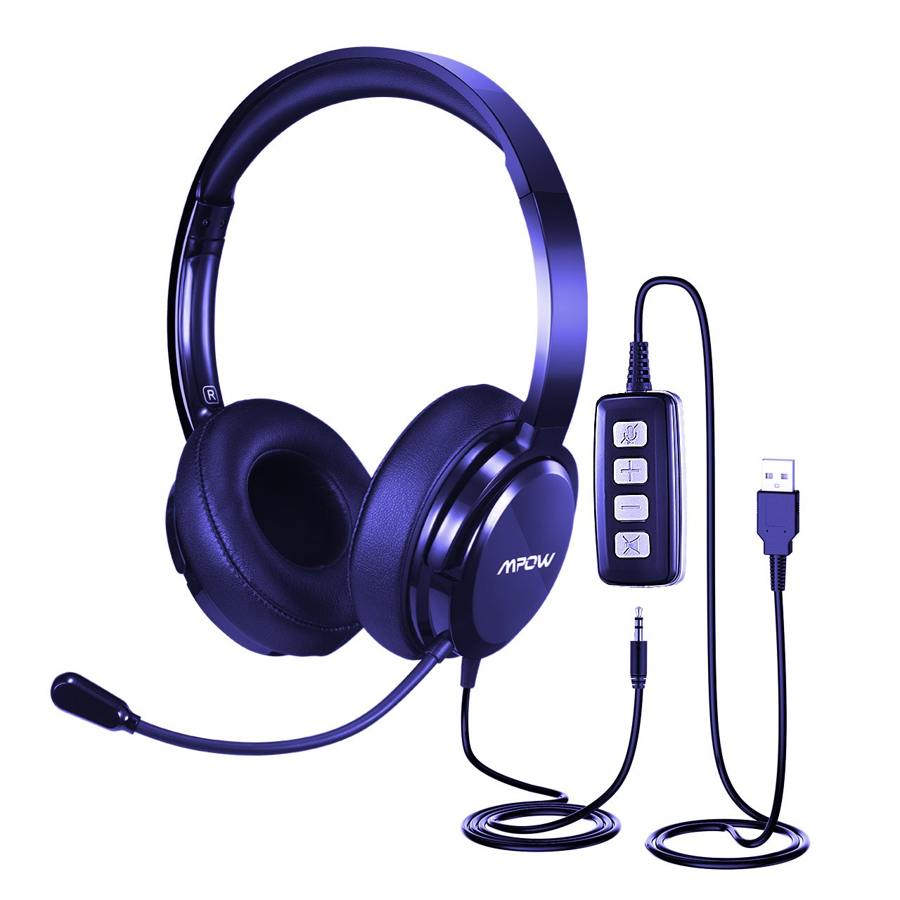 Mpow Wireless Office Monaural Headset/ Truck Driver Headset, [Upgrade Version] V4.1 Bluetooth Over the Head Earpiece with Noise Reduction Mic, Voice Command for Phones, VoIP, Skype, Call Center MPBH078AB