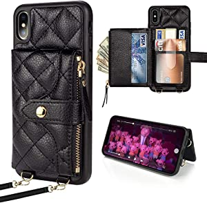 LAMEEKU Wallet Case Compatible with iPhone Xs, Card Holder for iPhone X Quilted Leather Crossbody Wallet Case for Lady with Hand Strap Shockproof Case for iPhone Xs/X, 5.8 Inch-Black