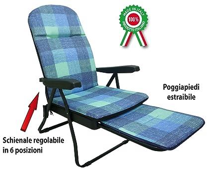 con sdraio in sedia casa prendisole poggiapiedi metallo Poltrona per imbottita y0Omv8Nwn