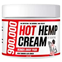 Hot Hemp Cream - 900 000 - Arthritis, Carpal Tunnel, Inflammation, Back, Foot, Nerve, Joint, Muscle, Neck Pain, Natural Stress Relief - MSM, Turmeric, Aloe, Arnica - Warming Topical Salve