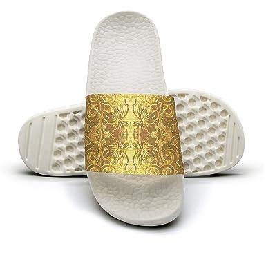 cb801c0eca6e1d Amazon.com  Golden Flower Lattice Energy Panels Love Knitting Cool Patterns  Indoor Flip Flops For Men  Clothing
