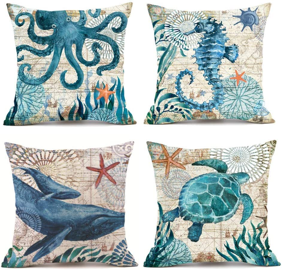 Traney Set of 4 Ocean Theme Mediterranean Style Cotton Linen Home Decorative Throw Pillow Case Cushion Cover Sea Turtle, Sea Horse, Octopus & Whale Square