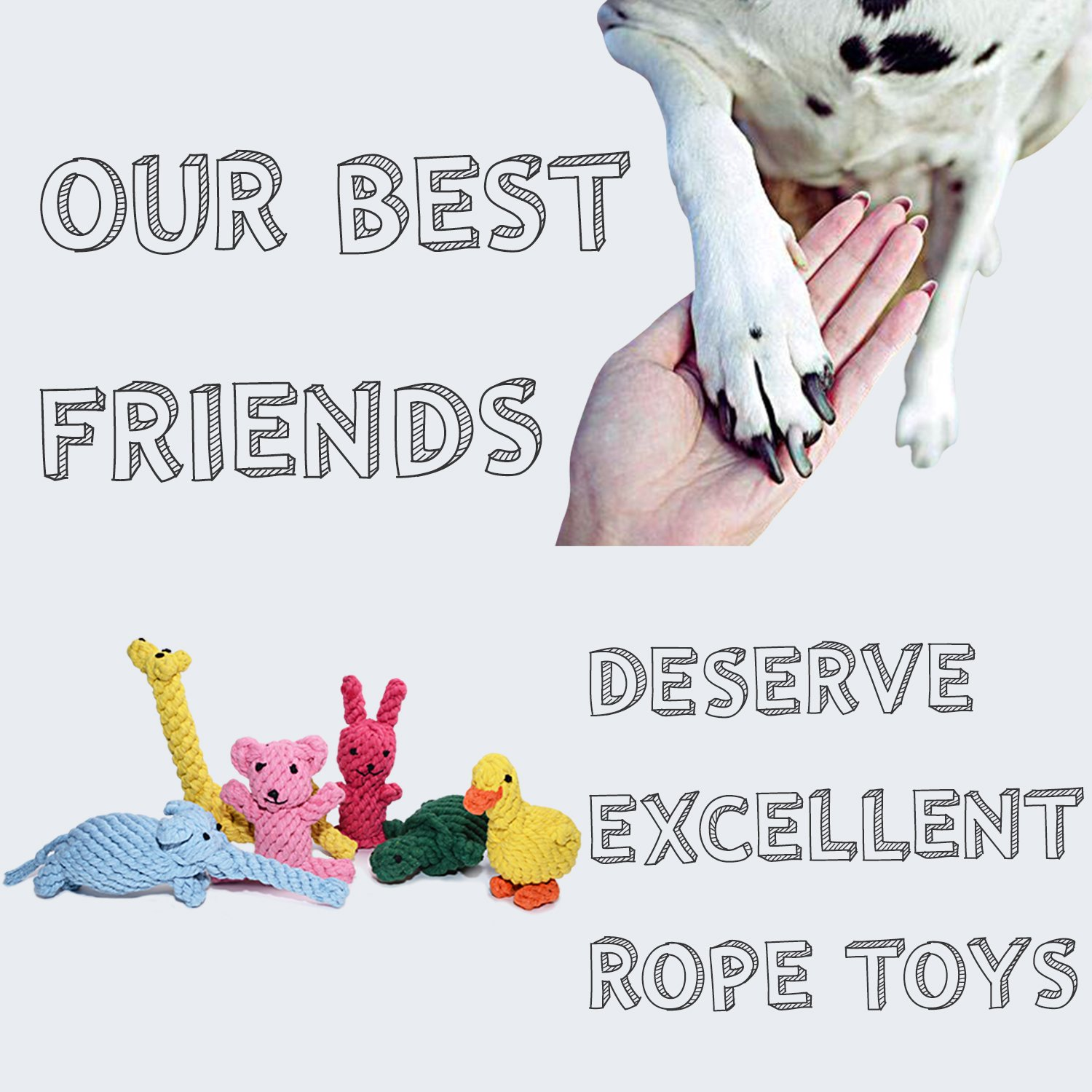 Dog Rope Toys Cute Animals Design, Cotton Puppy Toys for Small Dogs. Rope Dog Toy Set pack of 6 by TOYSBOOM (Image #9)
