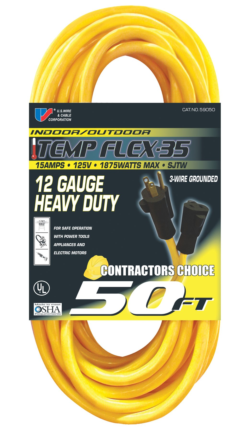 US Wire 59050 12/3 50-Foot SJTW Yellow Heavy Duty Extension Cord