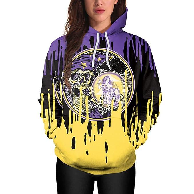 JYC-Sudaderas Mujer, Halloween Mujer Casual Sudaderas Impresión Pullover Capucha Sudadera Tops: Amazon.es: Ropa y accesorios