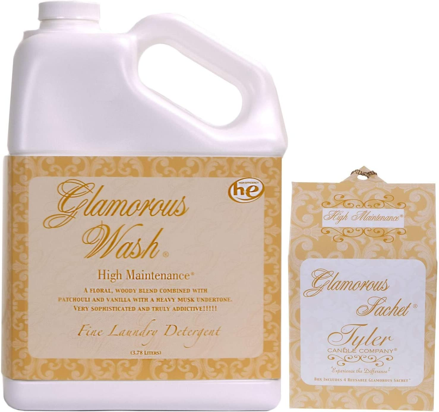 Tyler Candle Glamorous Wash High Maintenance Laundry Detergent 128oz w/High Maintenance Sachets Bundle