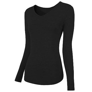 29e49489add Amazon.com  Women Tops Cotton Long Short Sleeve T-Shirt V Neck ...