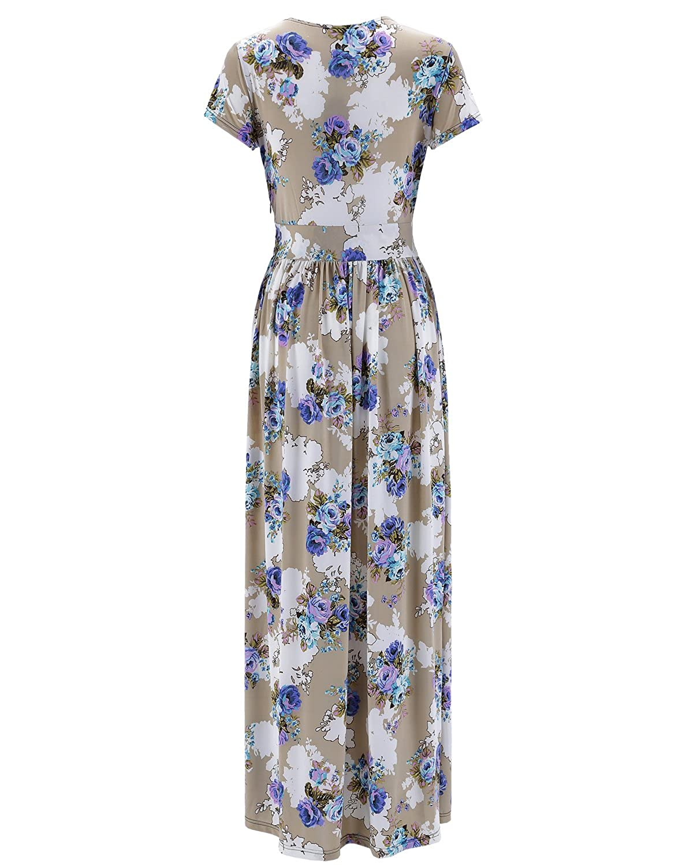 dd069d3cc93 OUGES Women s V-Neck Pattern Pocket Maxi Long Dress at Amazon Women s  Clothing store