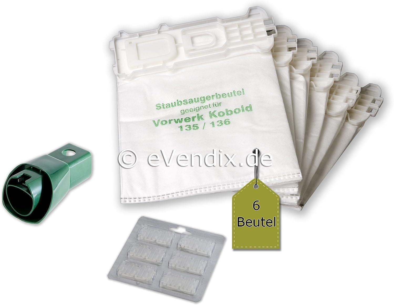 Set risparmio 6 Aspirapolvere Sacchetti tessuto non tessuto adatto per VORWERK PER VK 135,vk 136 SC 135