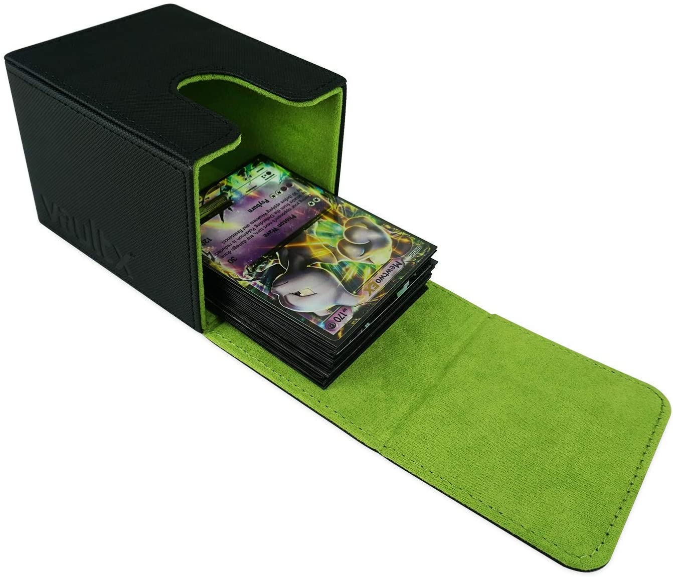 Vault X Deck Box and 150 Black Card Sleeves Yellow Large Size for 120-130 Sleeved Cards PVC Free Card Holder for TCG