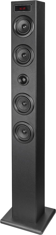 Elbe TW403BT - Torre de Sonido (Sistema), multifunción con Bluetooth, Pantalla LED Frontal, 40 W, USB/MicroSD / MP3, Radio FM, Apagado automático, Color Negro