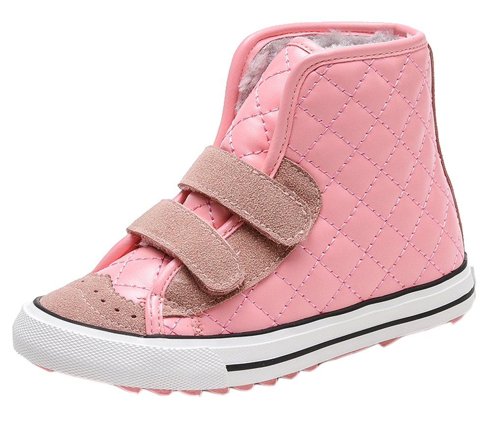 VECJUNIA Boys Girls Winter Waterproof High Top Sneakers Checkered Short Boots Pink 11 M US Little Kid