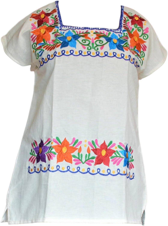 Amazon.com: Auténtica blusa tradicional mexicana de algodón ...