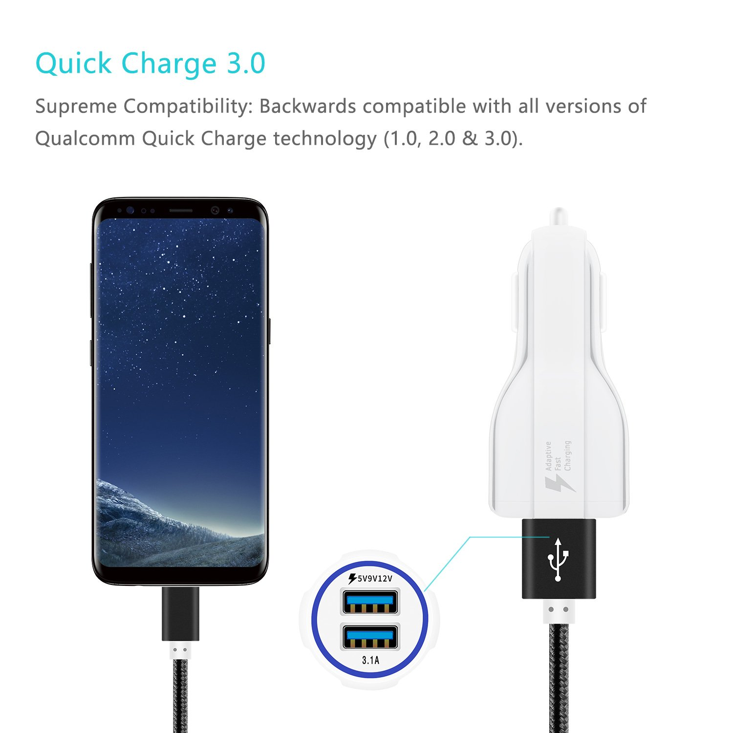 Amazon.com: TuYin Dual USB Car Charger,Qualcomm Quick Charge 3.0 Adapter,Smart Charger for Galaxy S9 S8 S7 S6 Edge,Note 9 8,Compatible iPhone Xs ...