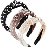 3 Pieces Pearls Headband Wide Hair Hoop Velvet Pearls Headband Vintage Twisted Headwear for Girl Woman Hair Accessories (Beige, Pale Mauve, Black)