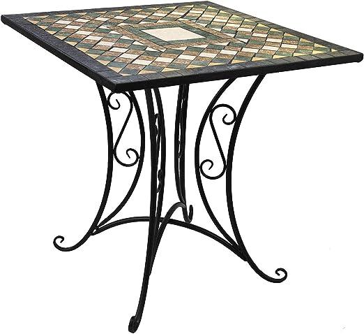 Wohaga® Mosaik - Mesa de jardín (70 x 70 cm, mosaico, mesa auxiliar, mesa de balcón, hierro, cerámica): Amazon.es: Jardín