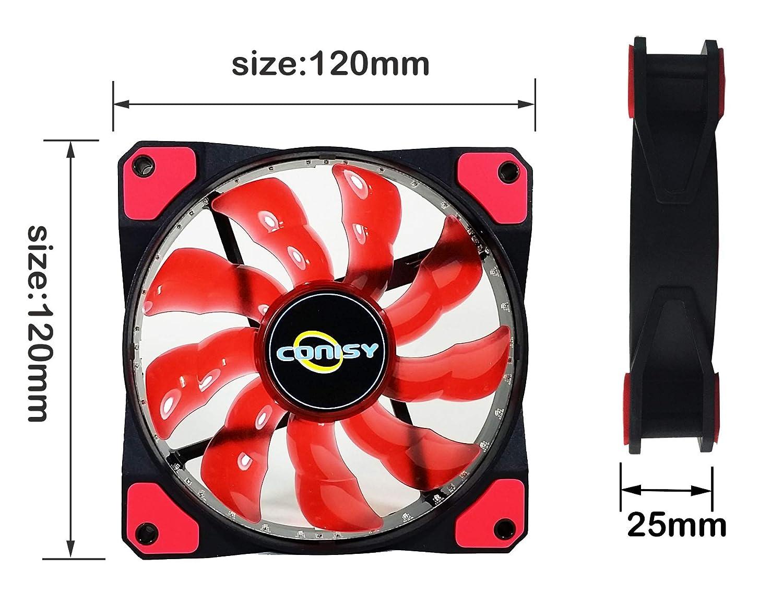 Blu Commercio, Industria e Scienza CONISY Aura Serie Ventola PC 120mm LED Ventilatore Silenzioso di Raffreddamento
