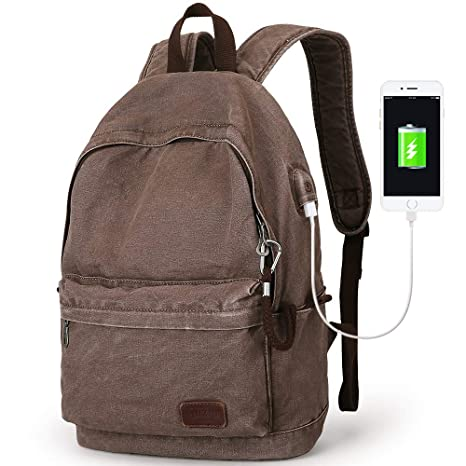 12b786d7f3dd Muzee Canvas Backpack with USB Charging Port for Men Women, Lightweight  Anti-Theft Travel Daypack College Student Rucksack Fits up to 15.6 inch  Laptop ...