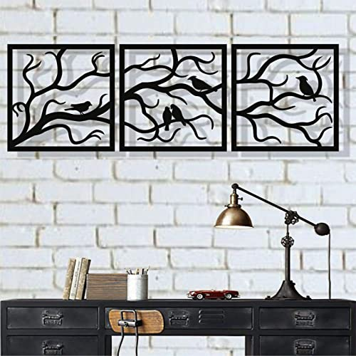 DEKADRON Metal Wall Art, Birds on Branch 3 Pieces, Metal Tree Wall Art, Tree Sign, Metal Wall Decor, Interior and Outdoor Decoration, 3 Panels Wall Hangings 91 W x 30 H 232x75cm